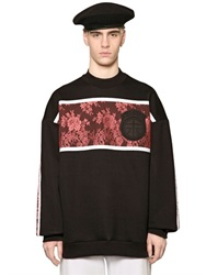 Astrid Andersen Oversized Lace And Neoprene Sweatshirt