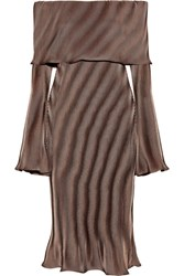 Beaufille Andura Off The Shoulder Ribbed Knit Midi Dress Bronze