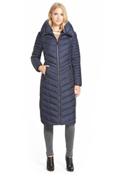 Marc New York 'Karen' Chevron Quilted Long Down And Feather Fill Coat Denim