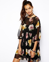 Asos Smock Dress In Autumn Floral Print