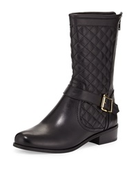 Neiman Marcus Reaves Quilted Leather Moto Bootie Black