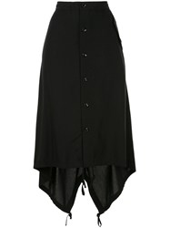 Y's Buttoned High Waisted Skirt Black