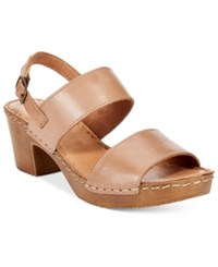 White Mountain Motor Block Heel Platform Sandals Women's Shoes Taupe