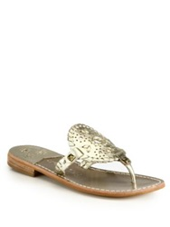 Jack Rogers Georgica Studded Leather Thong Sandals Platinum