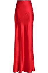 Amanda Wakeley Silk Satin Maxi Skirt Red
