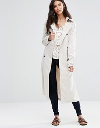Vila Emmely Long Trench Coat Moonbeam Brown