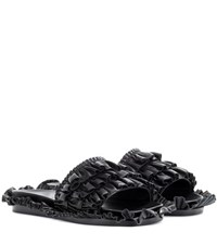 Simone Rocha Leather Slip On Sandals Black