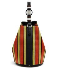 Diane Von Furstenberg Medium Steamer Striped Raffia Bucket Bag Orange Multi