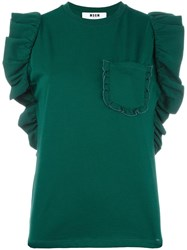 Msgm Ruffle Sleeve T Shirt Green
