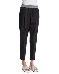 Brunello Cucinelli Cotton Blend Pull On Pants Black