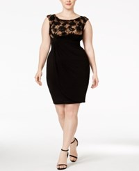 Connected Plus Size Soutache Faux Wrap Dress Black Gold