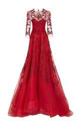 Monique Lhuillier Long Sleeve Illusion Gown Red