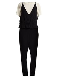 Vanessa Bruno Gib Short Sleeved Tapered Crepe Jumpsuit Black White