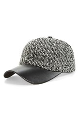 Amici Accessories Women's Tweed And Faux Leather Ball Cap