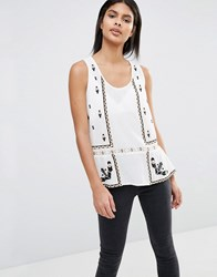 Vila Embroidered Shell With Ruffle Hem Ivory White
