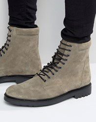 Asos Military Boots In Grey Suede And Black Sole Grey