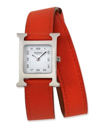 Herm S Heure H Mm Watch With Orange Leather Wrap Strap