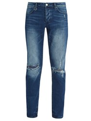 Neuw Iggy Ripped Knee Slim Leg Denim Jeans Blue