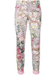 Cambio Floral Skinny Jeans Grey