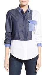 Ivanka Trump Women's Denim And Poplin Colorblock Shirt