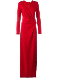 Lanvin Wrap Detail Maxi Dress Red
