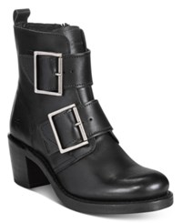 Frye Women's Sabrina Double Buckle Moto Booties Women's Shoes Black