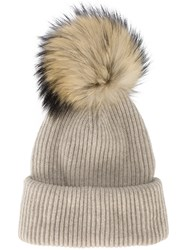 Inverni Neutral Ribbed Cashmere Hat With Fur Pom Pom Cashmere Raccoon Dog Nude Neutrals