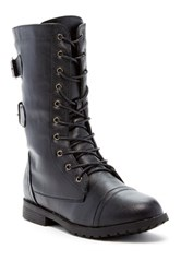 West Blvd Shoes Cairo Faux Leather Lace Up Military Boot Black