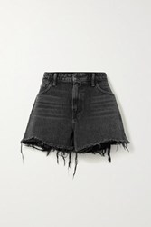 Alexander Wang Bite Frayed Denim Shorts Dark Gray
