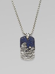 David Yurman Waves Pave Dog Tag Necklace Sapphire