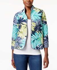 Alfred Dunner Petite Quilted Tropic Print Jacket