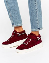 Carvela Linnet Nubuck High Top Flatform Trainers Wine Nubuck Red
