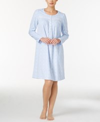 Charter Club Fleece Lace Trimmed Printed Nightgown Only At Macy's Blue Geo