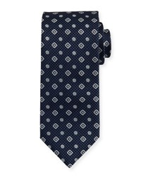 Brioni Textured Medallion Print Silk Tie Blue
