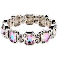 Monet Vitrail Crystal Stretch Bracelet Silver
