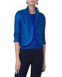 Akris Punto Perforated Leather Two Button Blazer Blue Blue Pattern