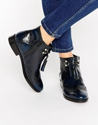Asos Alya Leather Tassel Ankle Boots Navy