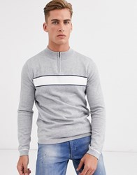 Selected Homme Chest Stripe Quarter Zip Sweater In Gray