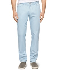 Calvin Klein Four Pocket Sateen Bowery Slim Fit Casual Pants Aqua Stone