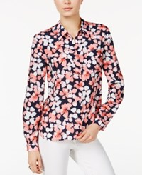 Tommy Hilfiger Printed Roll Tab Shirt Only At Macy's Flamingo