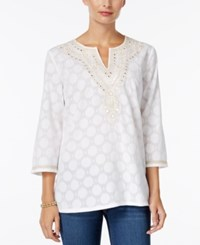Charter Club Embellished Jacquard Tunic Only At Macy's Bright White