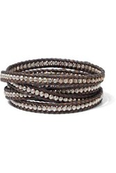 Chan Luu Woman Sterling Silver And Leather Wrap Bracelet Chocolate