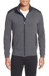 Bugatchi Elbow Patch Zip Cardigan Charcoal