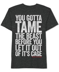 Men's Zoolander Tame The Beast Graphic Print T Shirt From Jem Black Speckle
