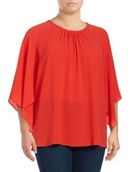 Vince Camuto Plus Pleated Kimono Top Dynamic Red