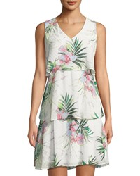 Donna Ricco Floral Tiered Sleeveless Dress Multi Pattern
