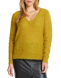 424 Fifth V Neck Sweater Amber Green