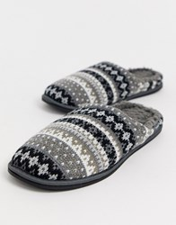 Totes Fairisle Slipper In Black And White