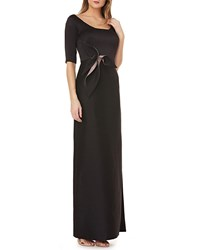 Kay Unger New York Elbow Sleeve Gown In Stretch Black