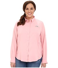 Columbia Plus Size Tamiami Ii L S Shirt Rosewater Women's Long Sleeve Button Up Pink